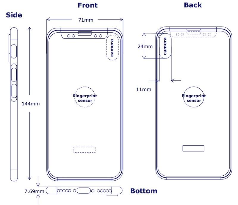 iphone 8 clsa iPhone 8 : un nouveau schéma montre le Touch ID sur le dos