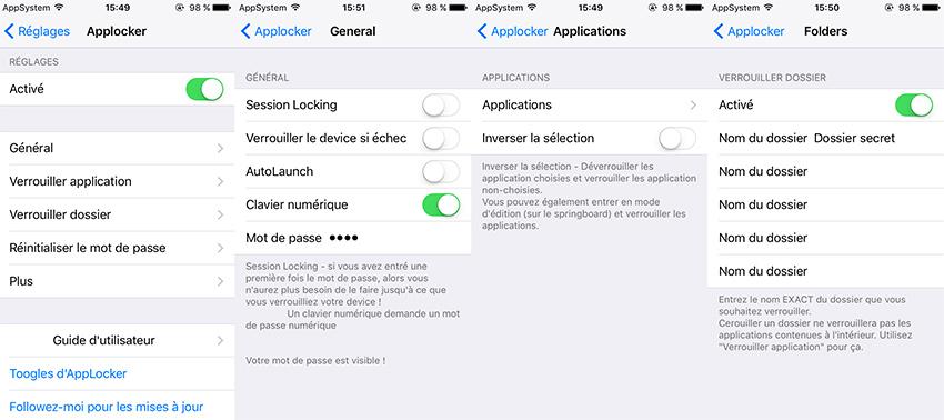 AppLocker Reglages Cydia : AppLocker, protéger des apps et des dossiers par un mot de passe (iOS 10)