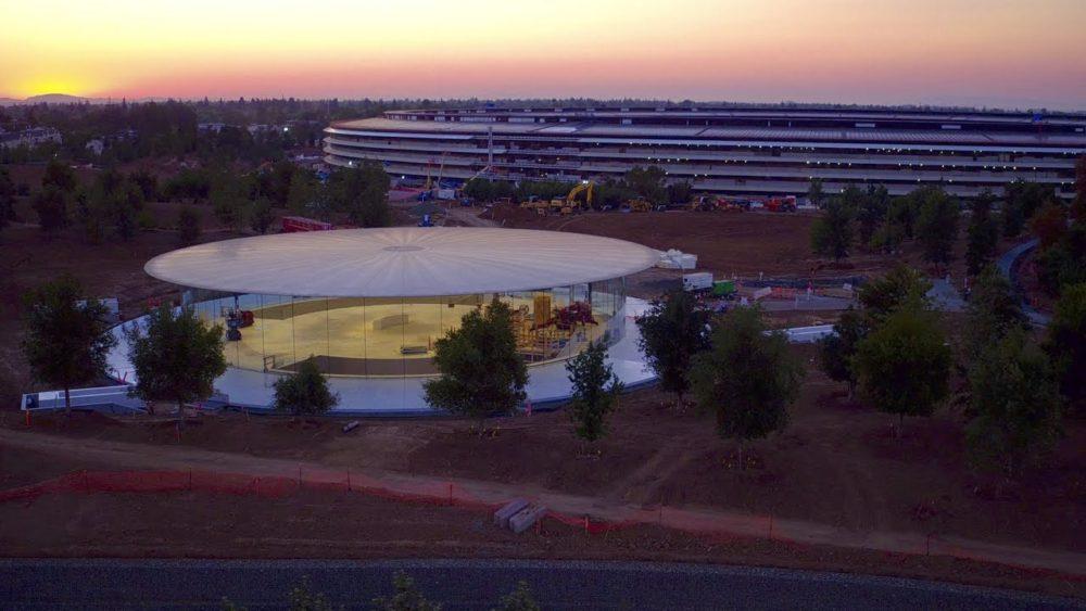 Apple Park Survol Drone En vidéo : focus sur lamphithéâtre Steve Jobs de lApple Park