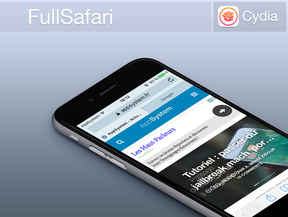 Full Safari Banniere Cydia : afficher ses onglets différemment (à la manière de liPad) sur Safari