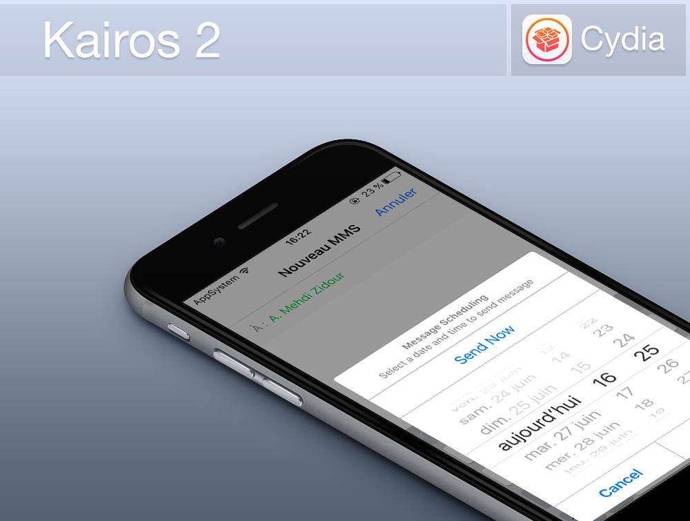 Kairos 2 Cydia Banniere Cydia : Kairos 2, programmer des SMS/iMessage sur iPhone et iPad