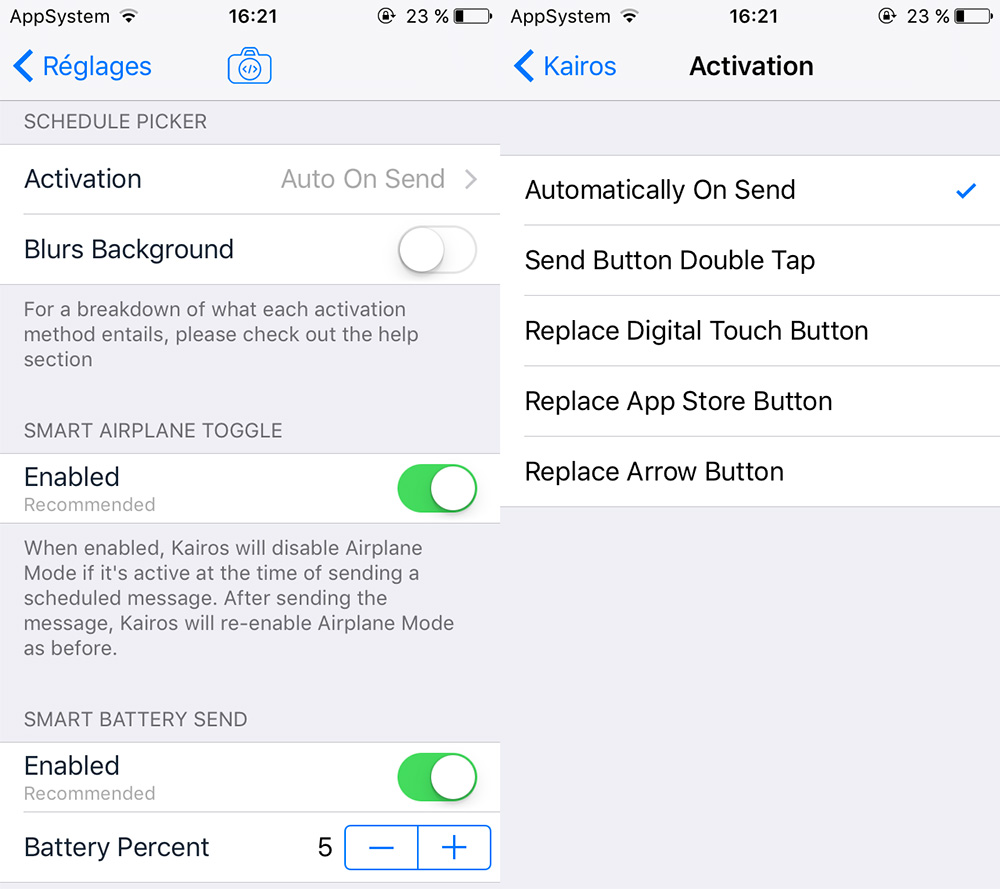 Kairos 2 Cydia Reglages Cydia : Kairos 2, programmer des SMS/iMessage sur iPhone et iPad