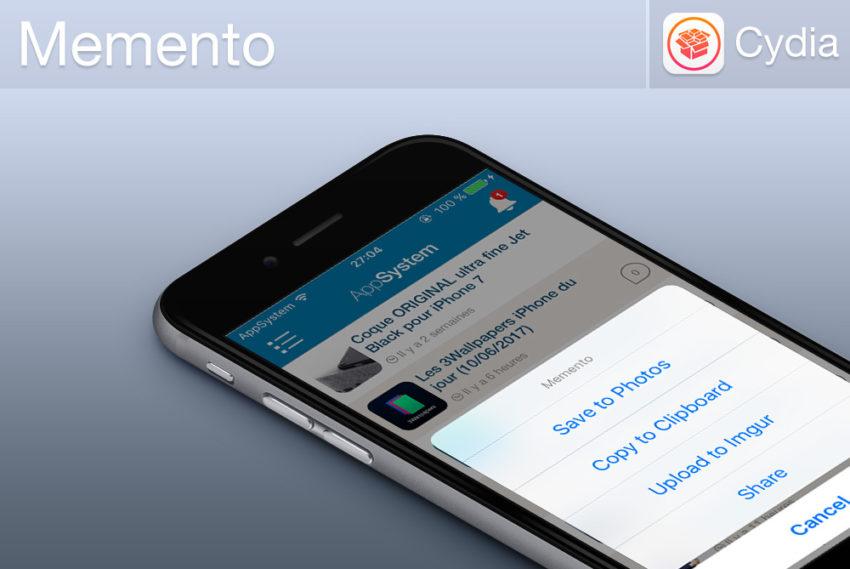 Memento Banniere Cydia : Memento, de nouvelles options pour vos screenshots
