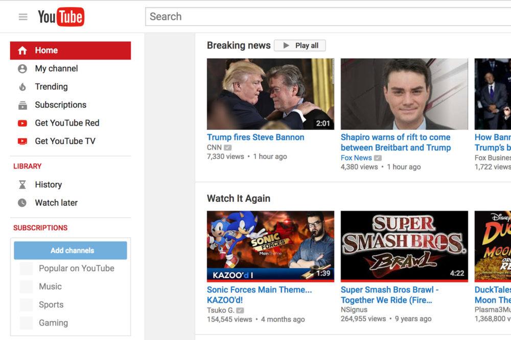 Youtube ajoute une nouvelle section Actualité dans sa page daccueil