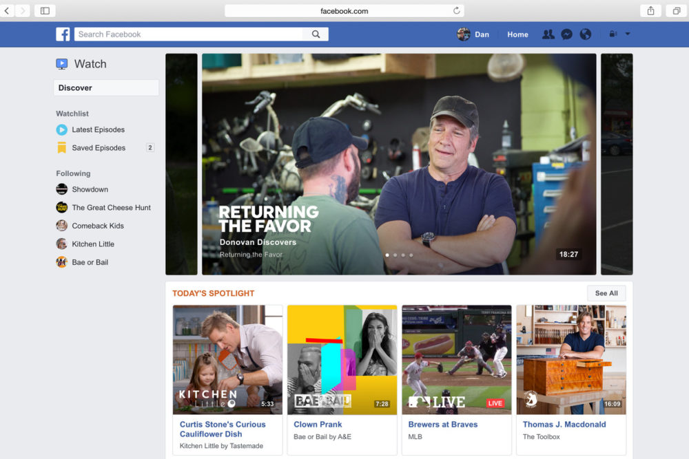 Facebook lance Watch pour concurrencer Youtube