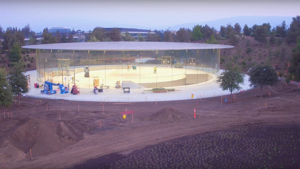 steve jobs theater Un drone a épié le futur Apple Park et Steve Jobs Theater