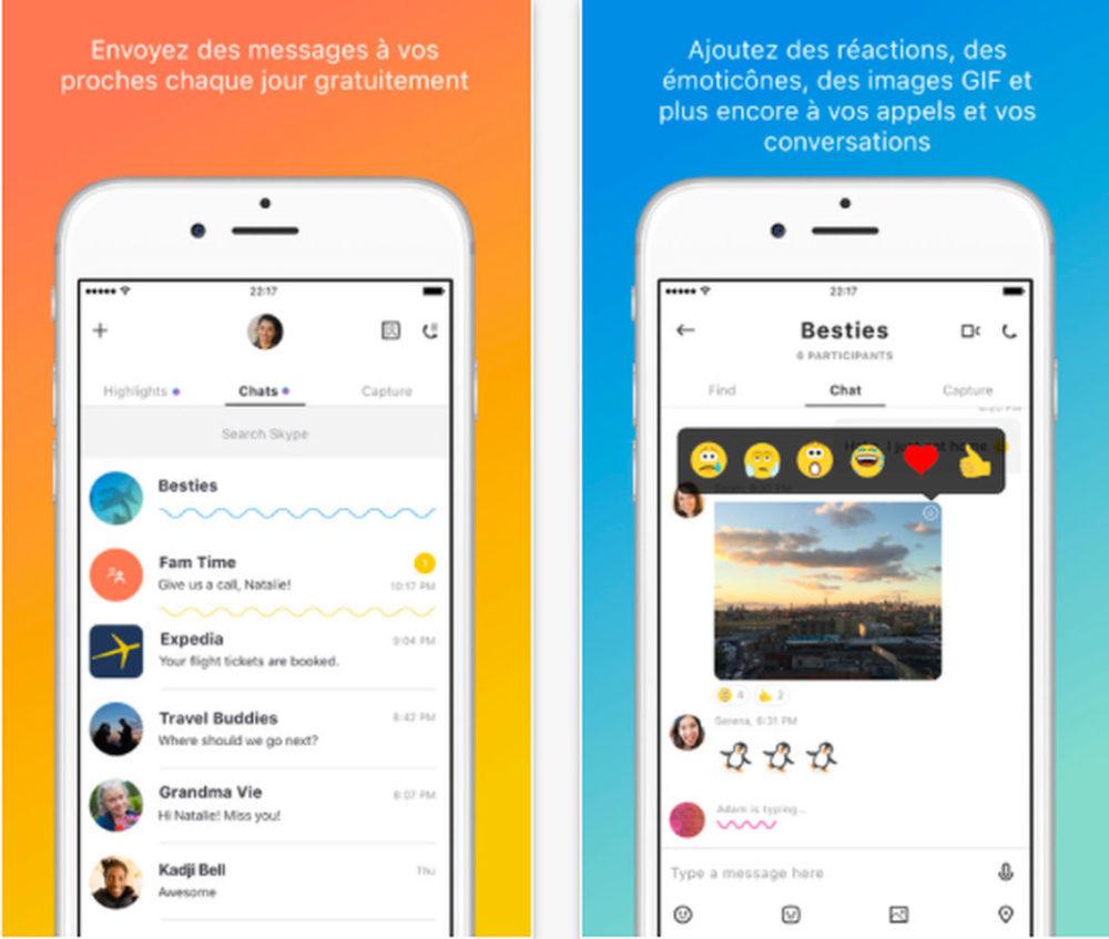 Skype maj Skype est mis à jour pour fonctionner sur iPhone 8 et 8 Plus