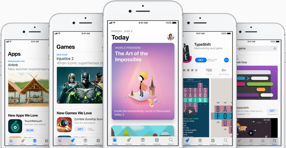 app store redesign on iPhone ios 11 1000x519 App Store vs Google Play Store : lequel a rapporté le plus de commissions en 2017 ?