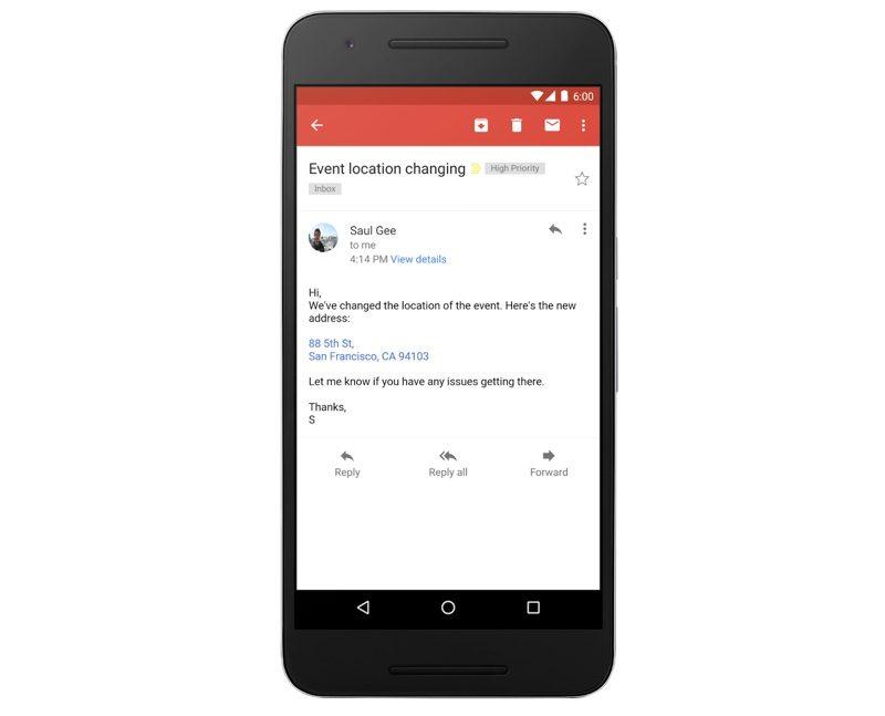 Gmail : cliquer sur des adresses et numéros de téléphone