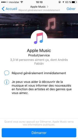 Apple Music 320x569 Apple Music est à présent disponible sur Messenger