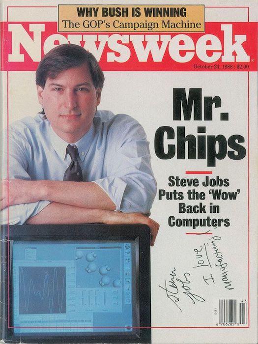 Magasine Steve Jobs Ce magasine dédicacé par Steve Jobs vaut plus de 50 000$ aux enchères
