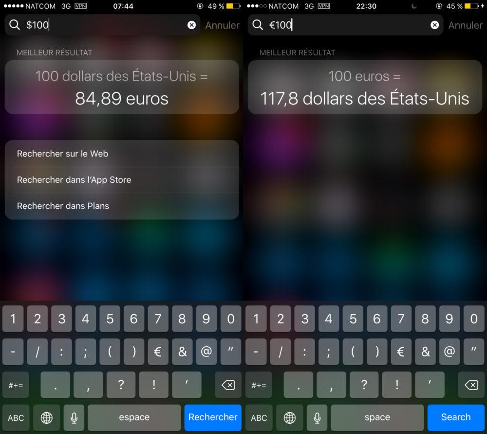 Spotlight Devises 1000x890 Comment convertir des devises et des unités avec Spotlight sur iPhone