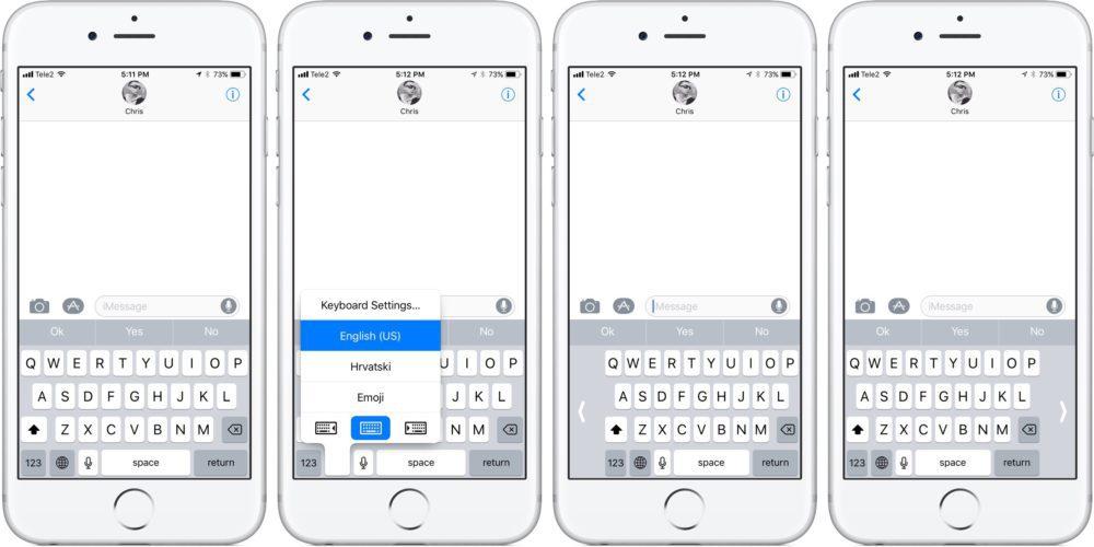 clavier ios 11 1000x500 Astuce iOS 11 : comment utiliser le clavier de votre iPhone avec une seule main