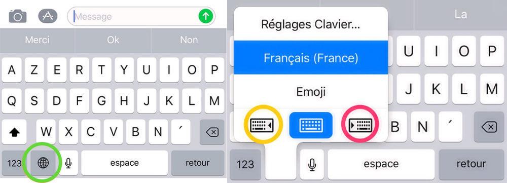 clavier lateral ios 11 1000x361 Astuce iOS 11 : comment utiliser le clavier de votre iPhone avec une seule main