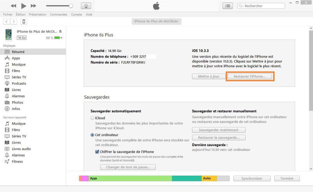 downgrade from beta to final ios 11 capture itunes 1000x613 Comment passer dune version bêta à une version finale diOS 11