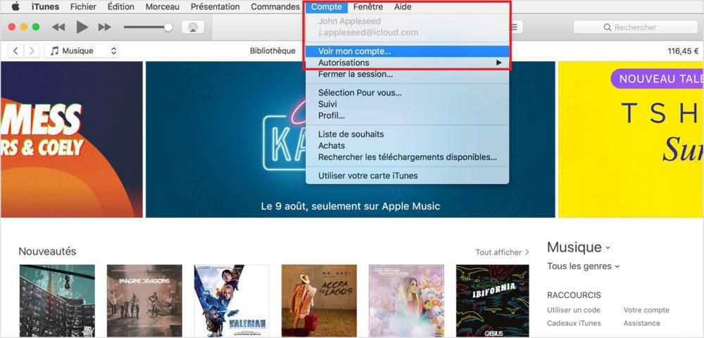itunes menu voir mon compte apple 1000x481 Tutoriel : comment modifier ou annuler les abonnements de lApp Store