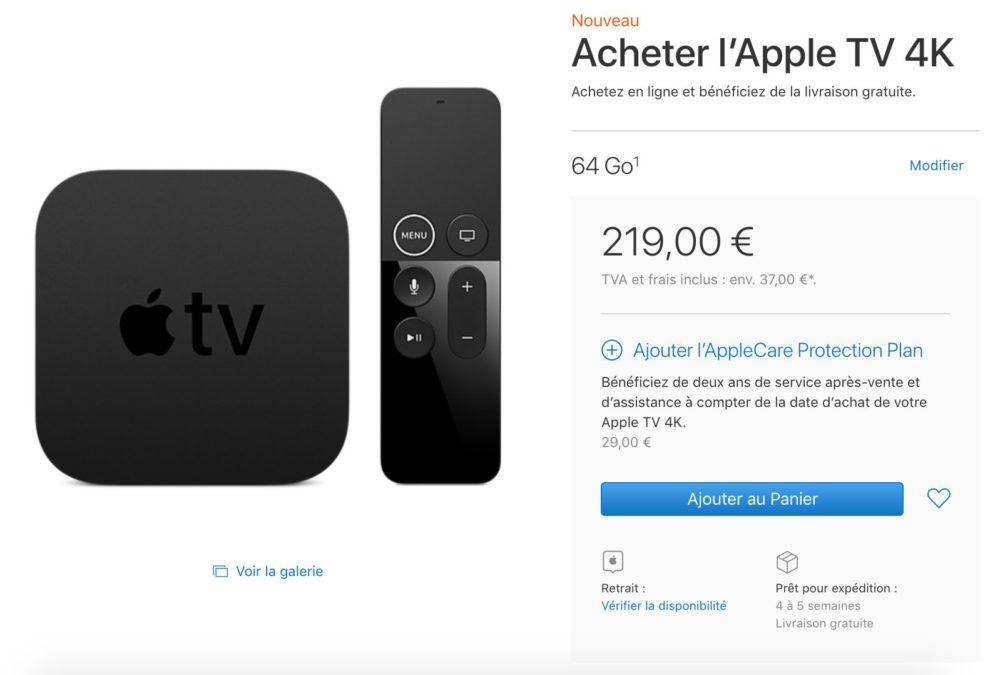 apple tv 4k 64 go d lais de livraison allong s appsystem. Black Bedroom Furniture Sets. Home Design Ideas