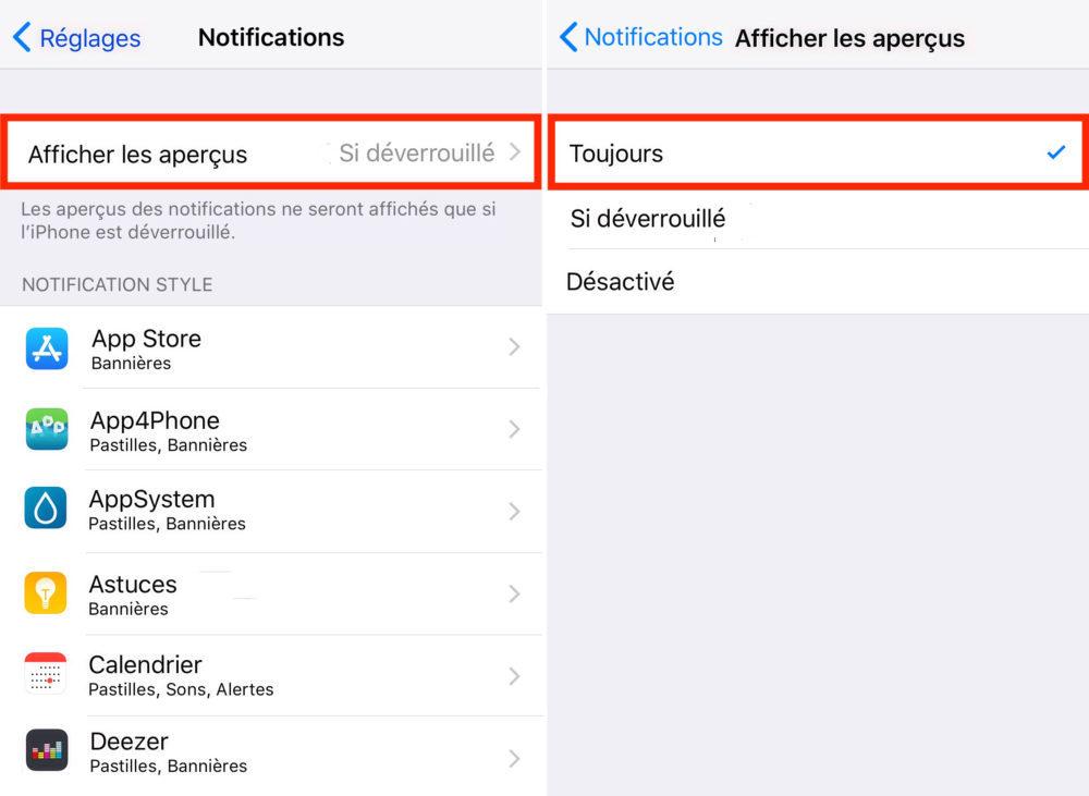 iPhone X Apercus Notificatons 1000x731 Astuce iPhone X : toujours afficher les aperçus de notifications sur lécran de verrouillage