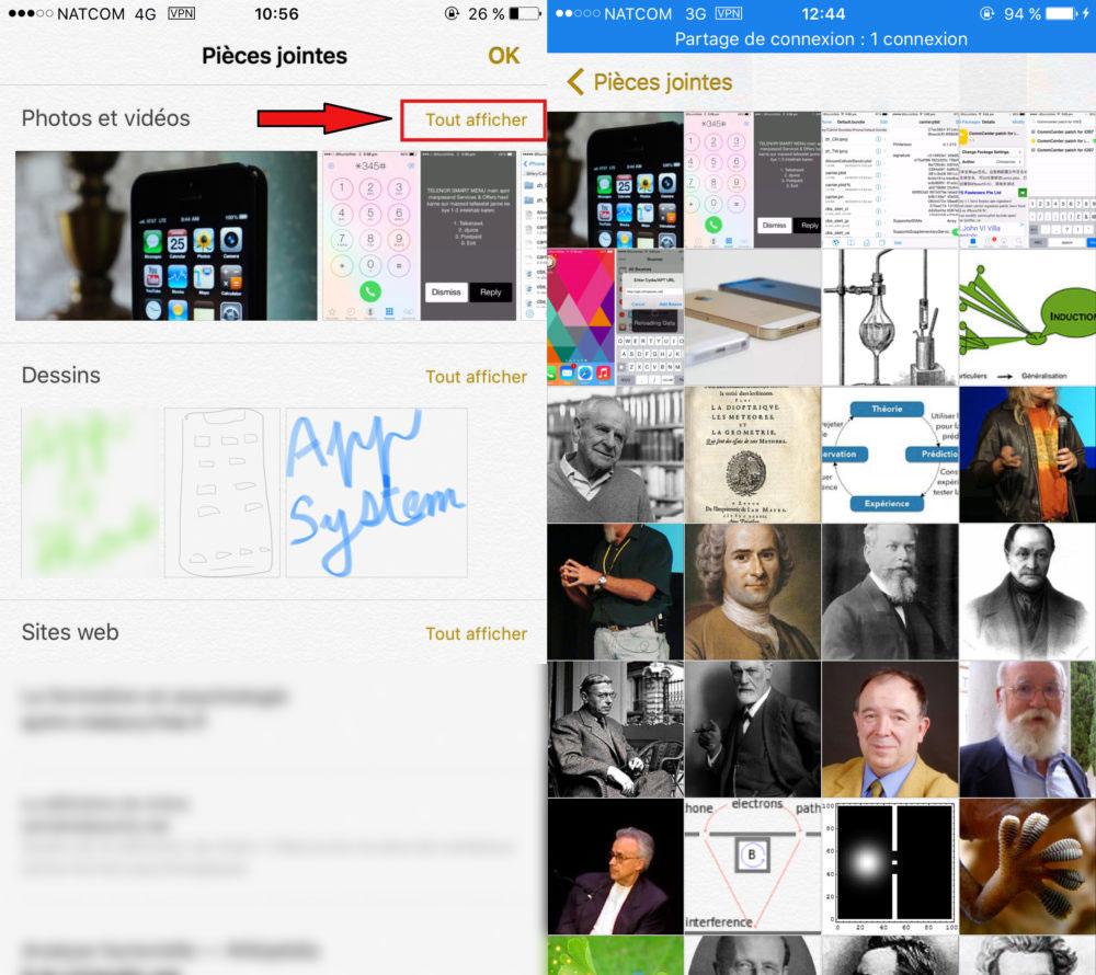 Notes iPhone Selection Photos Videos 1000x890 1 Astuce : comment voir les photos, dessins et documents stockés dans lapplication Notes