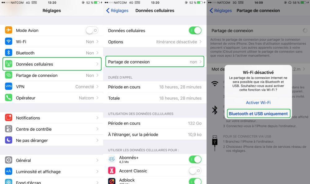 Partage Connexion Internet iPhone Bluetooth USB 1000x593 Guide : comment partager la connexion internet dun iPhone ou dun iPad