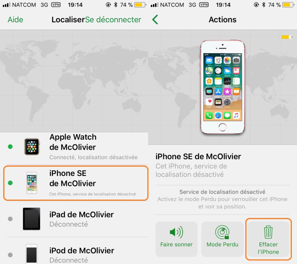 peut on localiser un iphone apres restauration