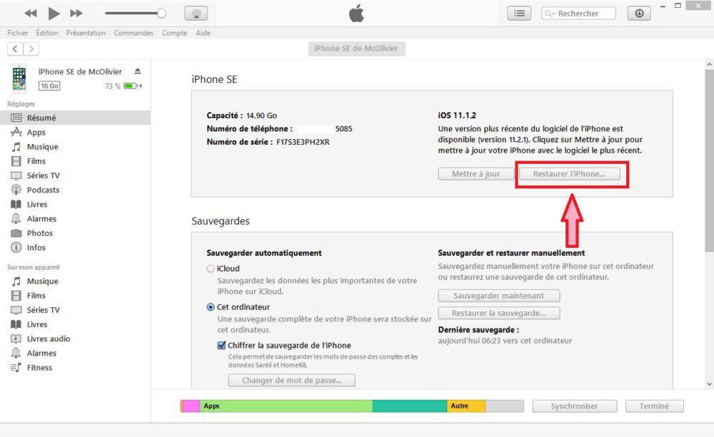 iTunes Restauration iPhone 1000x613 Mot de passé oublié : comment débloquer ou déverrouiller un iPhone
