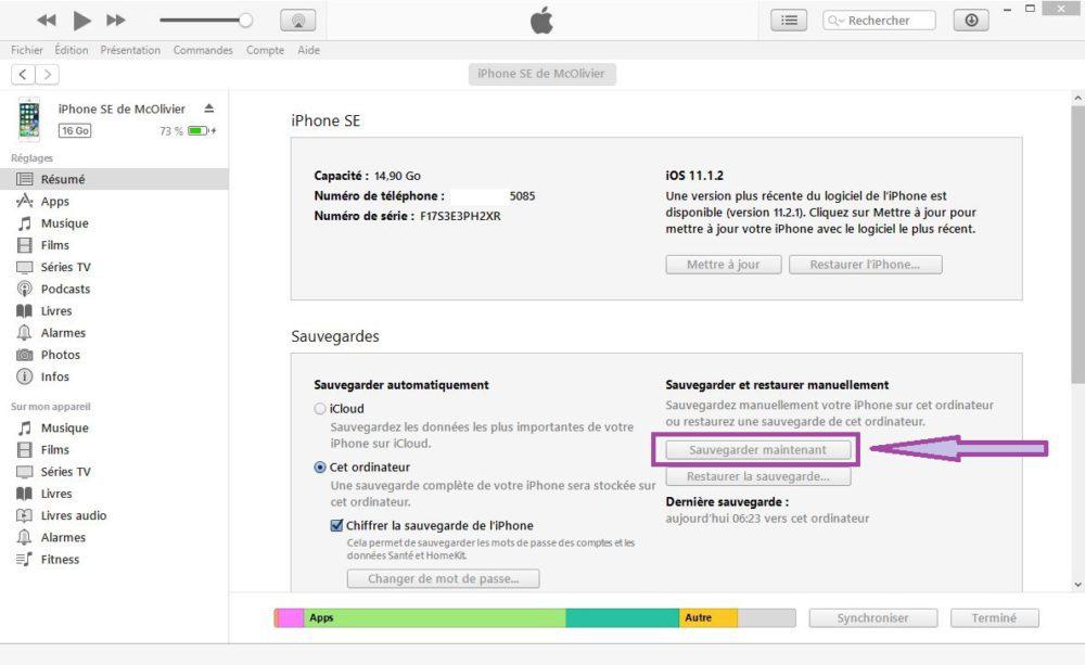 iTunes Sauvegarde iPhone 1000x613 Mot de passé oublié : comment débloquer ou déverrouiller un iPhone