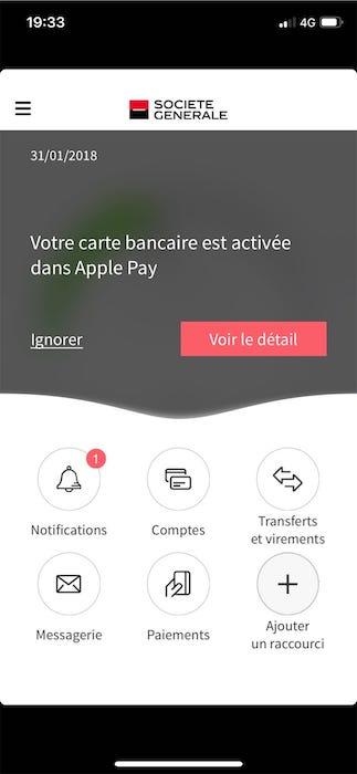 Très Des clients configurent leurs cartes Société Générale sur Apple Pay CR27