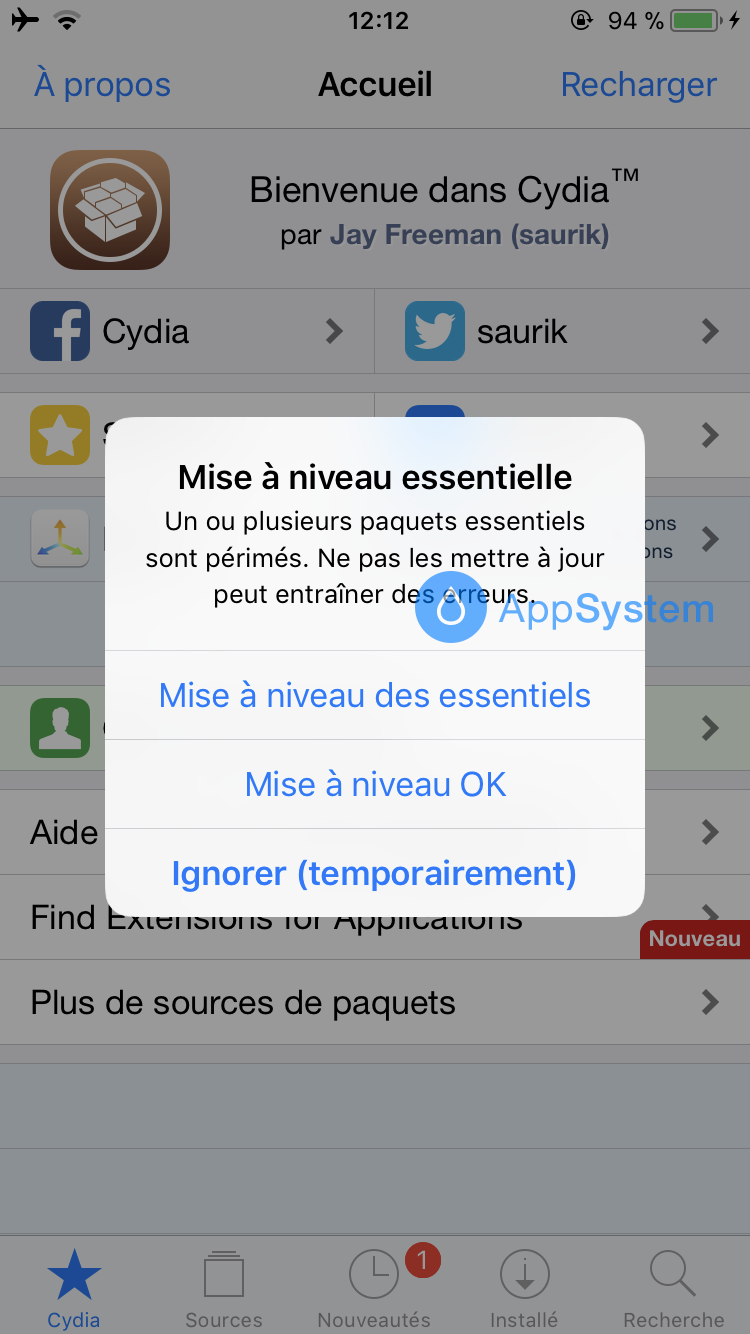 IMG 2761 copie Tutoriel Jailbreak iOS 11 avec loutil Electra (installation de Cydia)