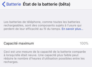 iOS 11 3 Batterie 320x236 iOS 11.3 propose une nouvelle section État de la batterie
