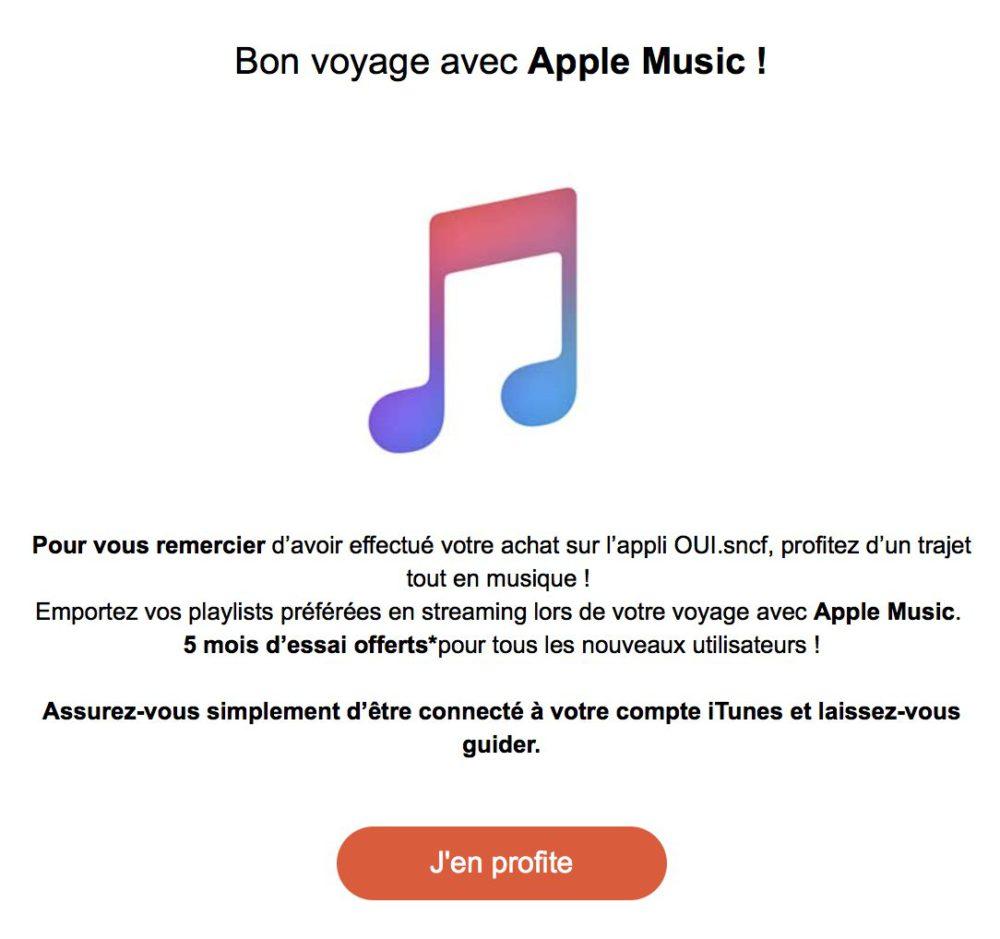 Mail SNCF Apple Music La SNCF offre 5 mois dabonnement Apple Music pour lachat dun billet de train