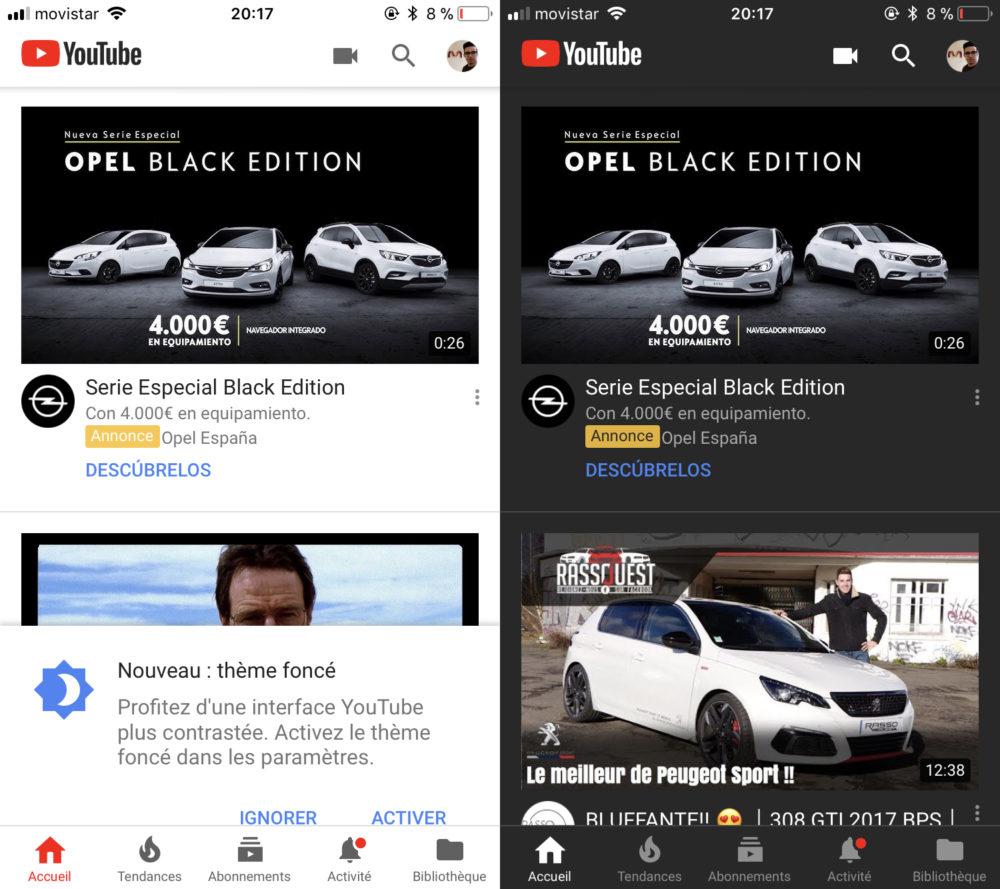YouTube Mode Nuit Le mode nuit disponible sur YouTube iOS pour tous