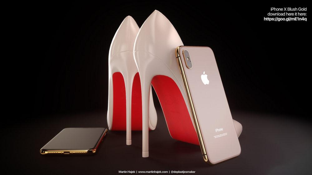 Concept iPhone X Louboutin 4 Insolite : un concept qui mêle iPhone X rouge, blush gold et Louboutins