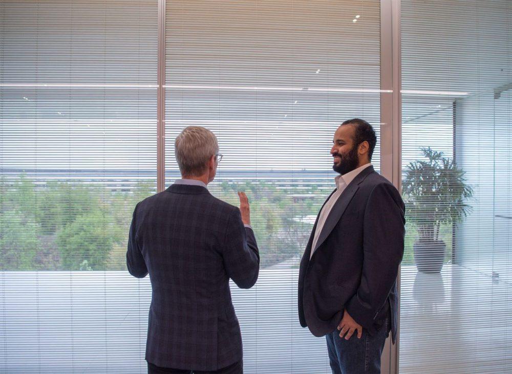 Prince Heritier Arabie Saoudite Apple Park 2 Mohammed ben Salmane (prince héritier de lArabie Saoudite) en visite à lApple Park