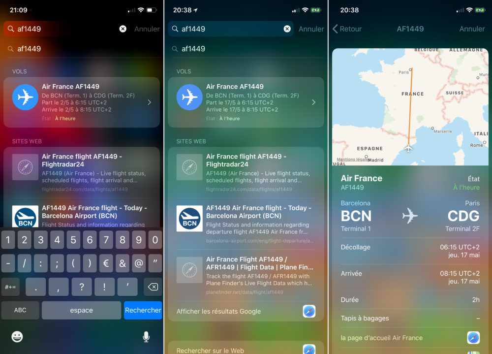 Suivre Vol Avion iOS 11 1000x719 Astuce : comment suivre vos vols sur iOS 11 et macOS High Sierra