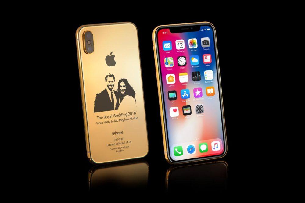 iPhone X Or Insolite : un iPhone X en or de 4000$ à leffigie du Prince Harry et Meghan Markle