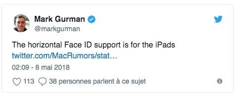 markgurman Il serait possible dutiliser Face ID à lhorizontale avec iOS 12