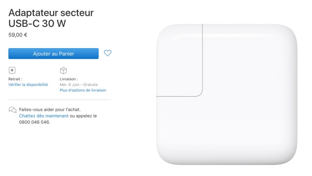 Capture d'écran 2018 06 05 à 13.21.06 Apple troque son adaptateur secteur USB C 29 W pour un modèle 30 W