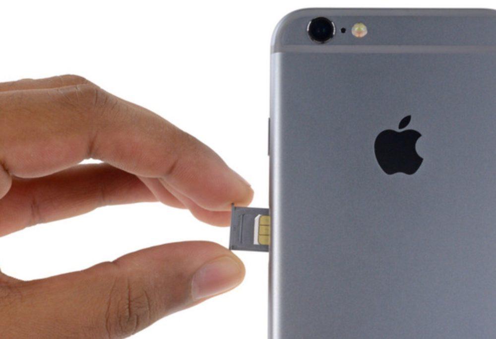 Tiroir Carte SIM Apple iPhone 6 1000x683 iPhone de 2018 : la carte SIM virtuelle d'Apple en plus de la carte SIM physique ?