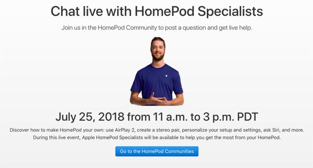 HomePod Chat Live 1000x536 HomePod : des spécialistes en ligne pour répondre à toutes vos questions