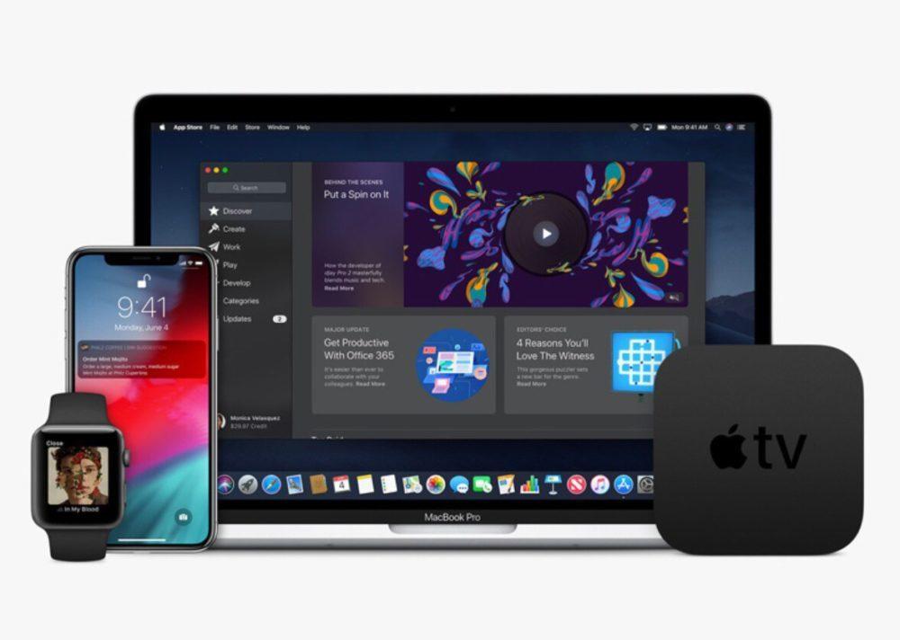 Apple Watch iPhone X MacBook Pro Apple TV 1000x712 Bêta 2 de macOS 10.14.5, de watchOS 5.2.1 et de tvOS 12.3 disponibles au téléchargement