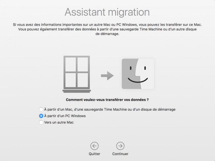 Assistant Migration Windows vers Mac macOS Mojave rend plus aisée la migration des données dun PC vers un Mac