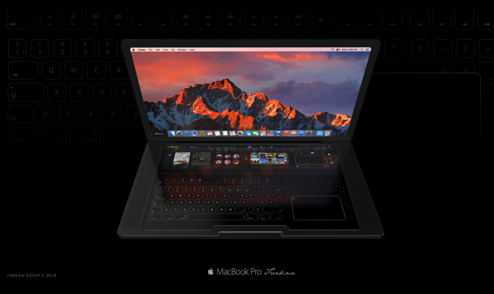 MacBook Pro Concept Claver Tactile 1000x595 Un concept MacBook Pro montre une Touch Bar géante et un clavier tactile