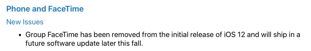 iOS 12 FaceTime Groupe Indisponible 1000x164 iOS 12 et macOS Mojave ne proposeront pas les appels FaceTime de groupe au lancement