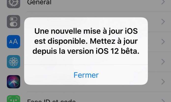 iOS12 fausse mise a jour Apple relâche iOS 12 bêta 12 pour corriger un bug affichant une alerte invitant à mettre à jour lOS