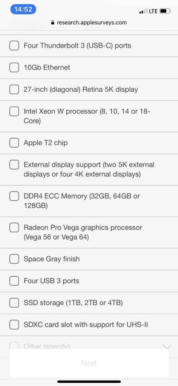 Capture d'écran 2018 09 11 à 10.55.07 Apple réalise un sondage sur liMac Pro auprès de ses clients