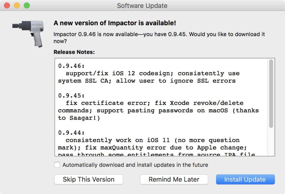 Cydia Impactor Maj Cydia Impactor a été mis à jour pour iOS 12