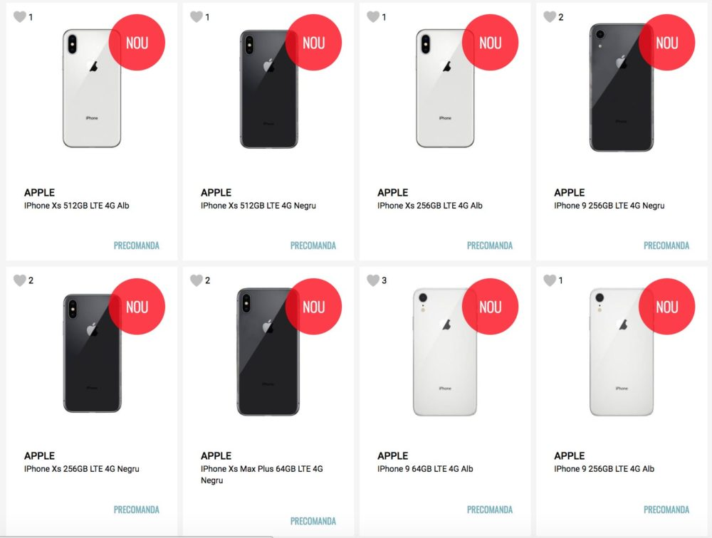 Nouveaux iPhone Precommande Les iPhone Xs, Xs Max et liPhone 9 en précommande chez un revendeur roumain