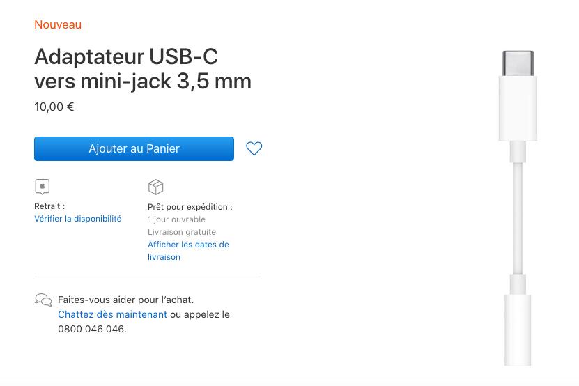 Adaptateur USB C Vers Jack Pas de port Jack sur liPad Pro de 2018 : Apple vend un adaptateur USB C vers jack 3,5 mm