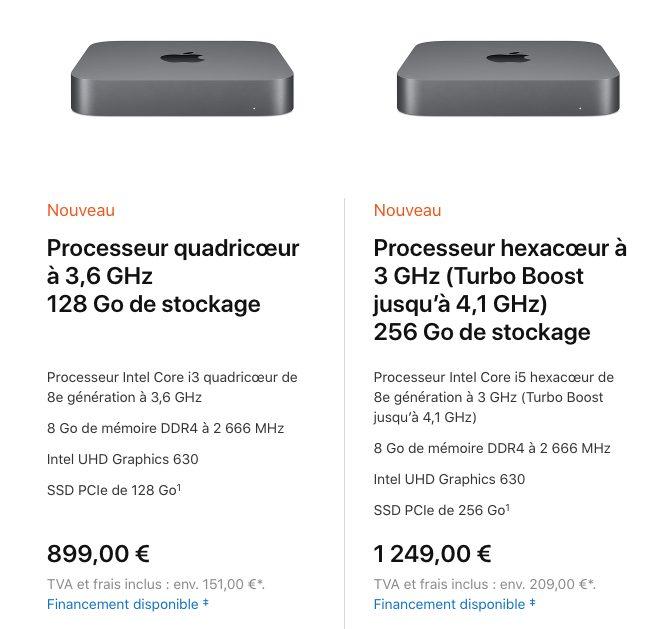 mac mini 2018 ports prix config Mac mini 2018 : prix, précommandes et dates de livraison